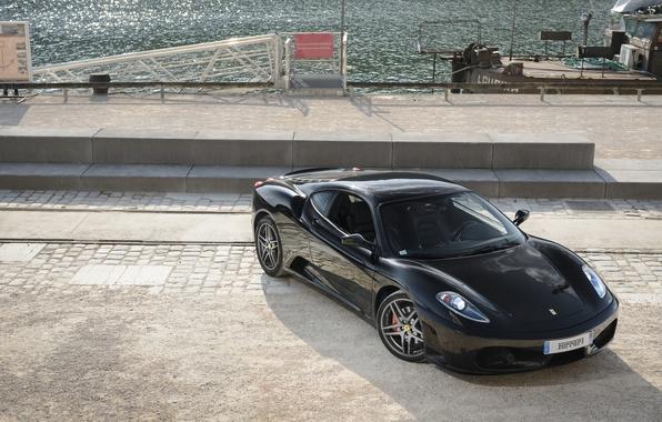 Picture black, ferrari, Ferrari, black, promenade, f430, the view from the top, headlights, F430