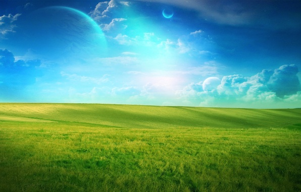 Picture field, clouds, green, planet