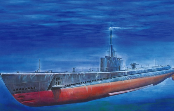 Picture boat, art, USA, Navy, combat, engines, underwater, battery, submarine, WW2., class, quality, diesel, duration, patrol, …