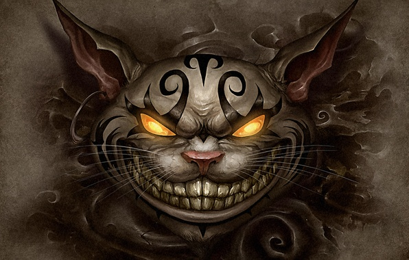 Picture cat, face, piercing, tattoo, alice, madness returns, Cheshire