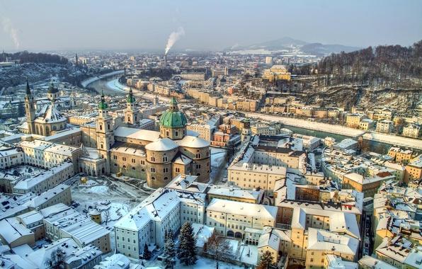 Picture winter, snow, mountains, river, Austria, panorama, haze, Salzburg, Salzburg, Austria
