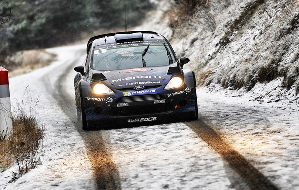 Picture Ford, Winter, Auto, Road, Snow, Sport, Ford, Race, Lights, WRC, Rally, Rally, Fiesta, The front