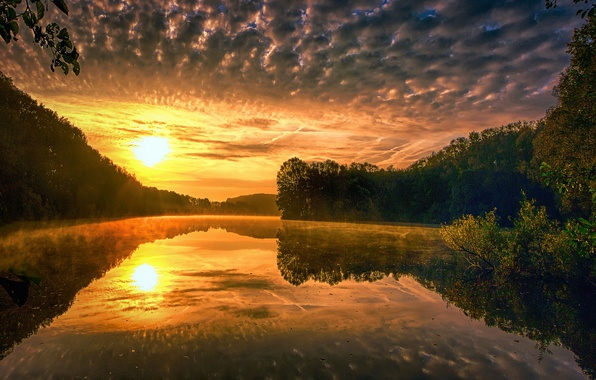 Picture the sky, the sun, clouds, trees, sunset, nature, lake, reflection, river