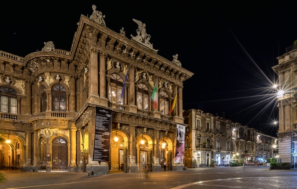 Picture night, lights, home, Italy, Opera, Sicily, Catania, The Teatro Massimo Bellini