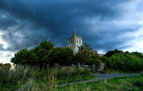 Picture grass, clouds, New York, track, Church, USA, the bushes, church st. Mary the Virgin