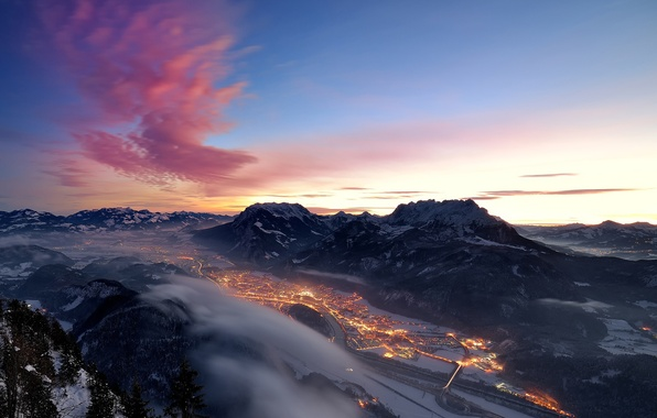 Picture winter, snow, mountains, the city, lights, the evening, valley, Alps