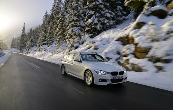 Picture Auto, Road, White, Snow, BMW, BMW, Universal, 320d, In motion, F31