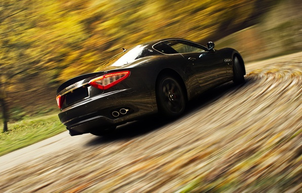 Picture road, Maserati, speed, blur, sports car, GranTurismo