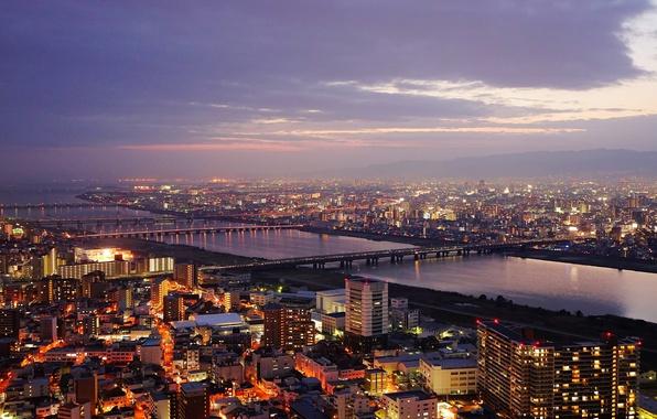 Picture Japan, twilight, sunset, bridges, dusk, Osaka