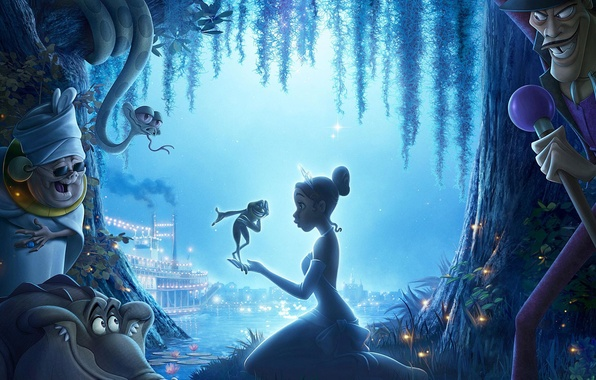 Photo wallpaper night, river, cartoon, frog, tale, Princess, miracle