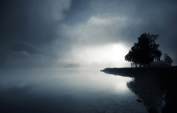 Picture water, trees, fog, lake, stones, hills, twilight, black and white