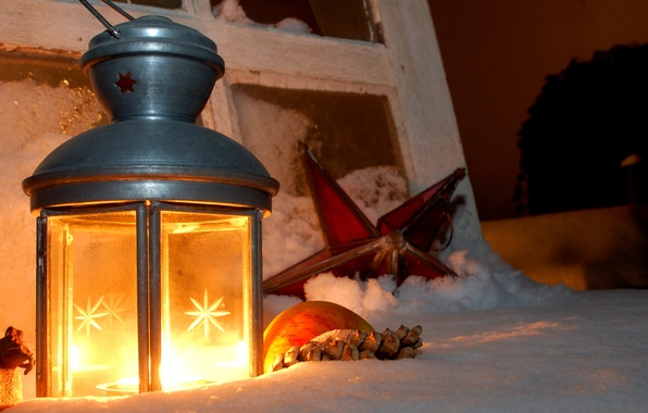 Picture winter, snow, holiday, Christmas, New Year, lantern
