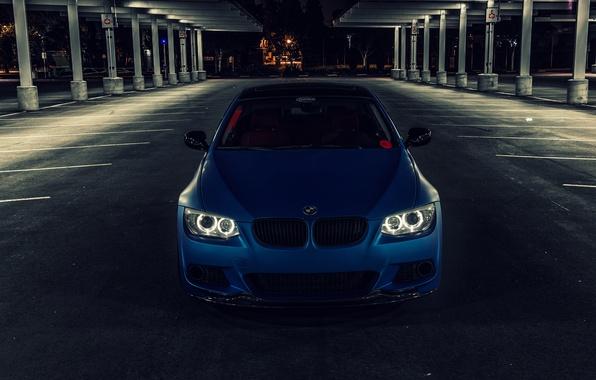 Picture blue, BMW, BMW, Matt, front, E92, Matte, The 3 series, 3 Series, Blue Metallic