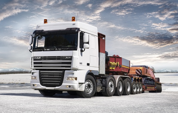 Picture Truck, Excavator, Wallpaper, Red, White, Wallpapers, Truck, Tractor, DAF, XF105, Trailer, DAF, ИксЭф105
