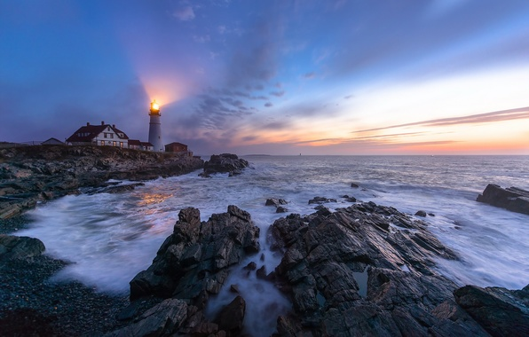 Picture sea, night, lighthouse