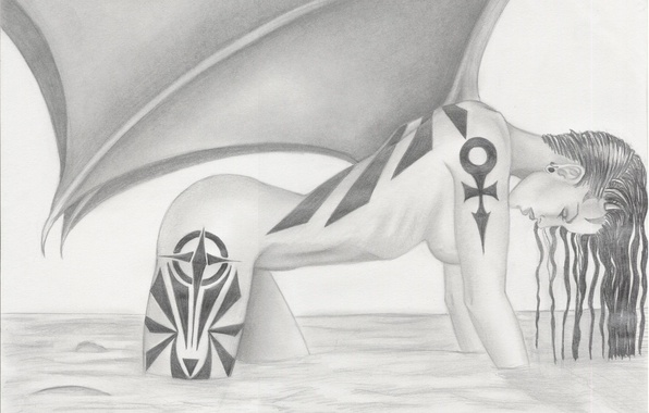 Picture water, girl, face, hair, body, wings, the demon, tattoo, profile, pencil, painting, tattoo, wet, fantatica