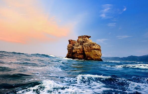 Picture sea, wave, foam, clouds, sunset, rock, dawn