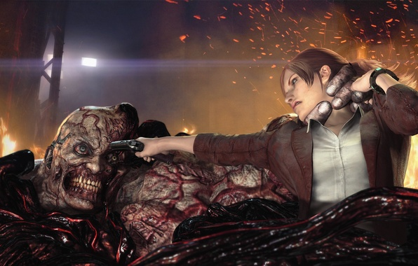 Picture girl, gun, fire, monster, battle, capture, fight, mutant, Capcom, Claire Redfield, Claire Redfield, Resident Evil: …
