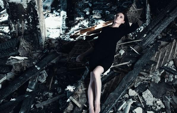 Picture the wreckage, girl, reverie, pose, garbage, model, portrait, dress, brunette, shoes, lies, devastation, light, black, …