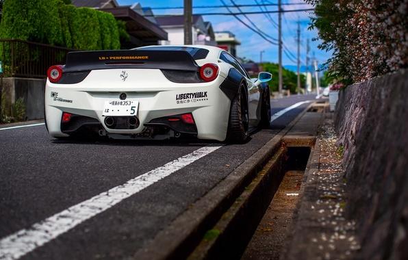 Picture road, the city, Japan, Ferrari, Italia, Liberty Walk, 458 Challenge