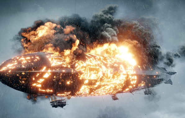 Picture fire, war, the game, Zeppelin, burns, Electronic Arts, Battlefield 1