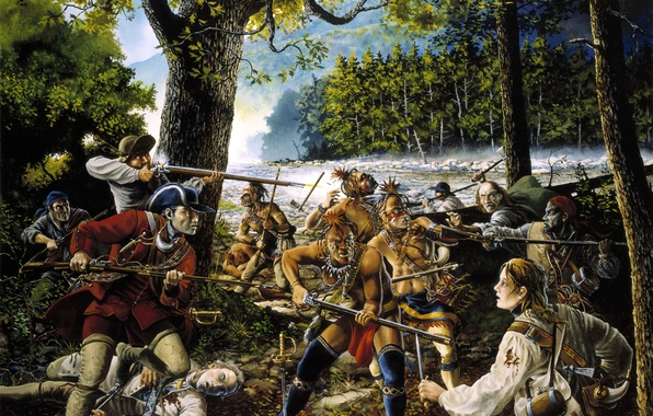 Picture oil, picture, clash, America, knives, guns, coloring, the Indians, hunters, armed, (Redskins), host, Wild West, …