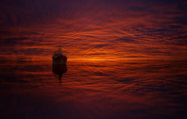 Picture sea, clouds, reflection, ship