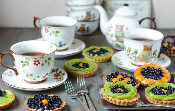 Picture tea, coffee, food, kiwi, pie, Cup, fruit, cream, dessert, cup, fruit, coffee, cream, dessert, kiwi, …