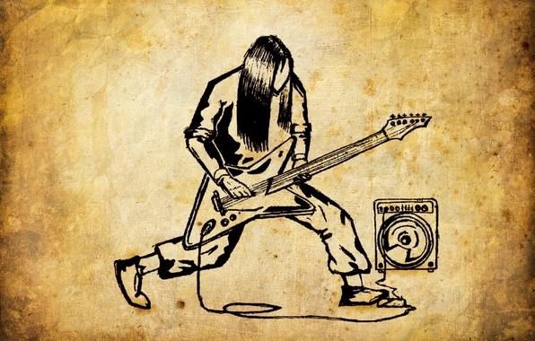 Picture music, guitar, drawings, speaker, metal, rock, metal, rock, old paper