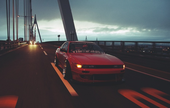 Picture night, bridge, movement, nissan, Nissan, silvia, Sylvia, motion