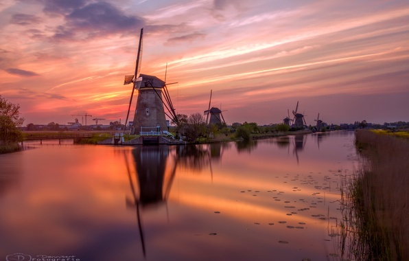 Picture water, river, the evening, channel, Netherlands, Holland, windmills