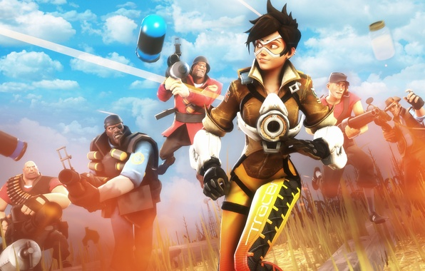 Picture team fortress 2, Sniper, Soldier, Heavy, Demoman, Scout, tracer, overwatch