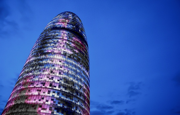 Picture the sky, clouds, tower, skyscraper, construction, the evening, architecture, blue, Spain, Barcelona, Catalonia, Torre Agbar