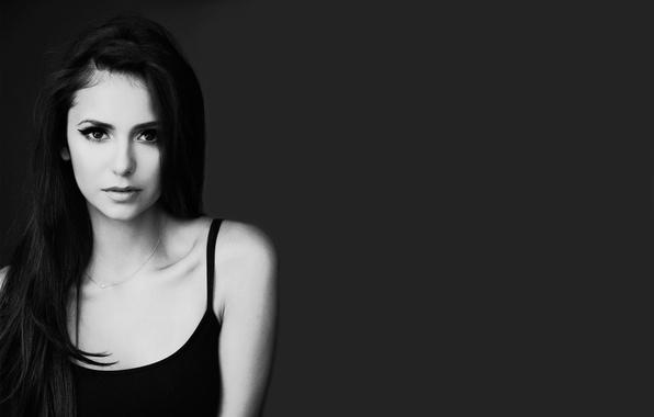 Picture eyes, look, girl, face, hair, actress, lips, black and white, chain, beautiful, Nina Dobrev, Nina …