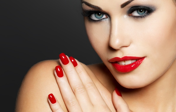 Wallpaper red girl makeup lipstick nails images for - Nails wallpaper download ...