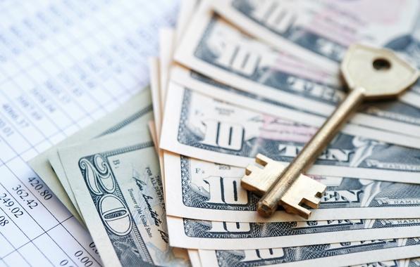 Picture metal, key, money, dollar, paper