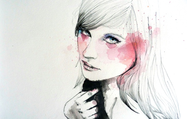 Picture girl, face, paint, figure, hand, art
