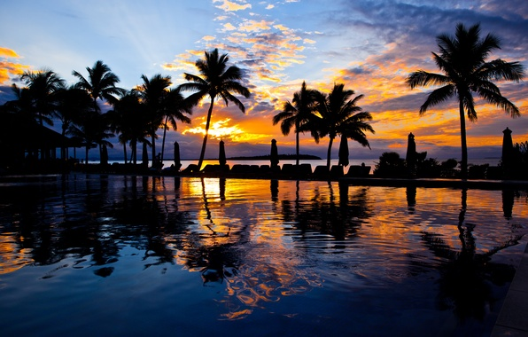 Picture the sky, water, clouds, sunset, palm trees, Pool, umbrellas