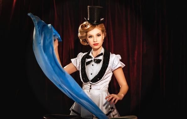 Picture girl, magic, magic, circus, tricks, view, Diana lipkina