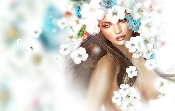 Picture girl, flowers, portrait, spring, mole, wreath
