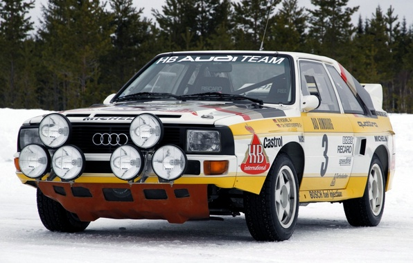 Picture forest, Audi, lights, Audi, sport, quattro, rally, the front, group B, Group B, rally car, …