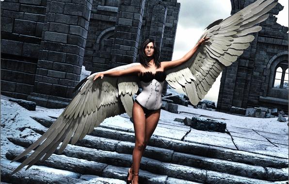Picture look, girl, rendering, hair, wings, angel, ladder