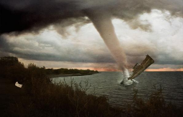 Picture sea, clouds, ship, tornado, hurricane, the ship