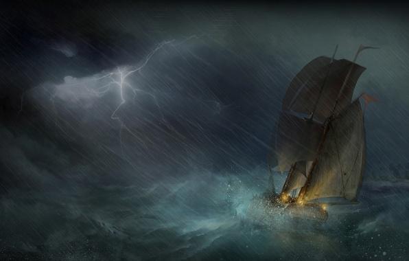 Picture sea, storm, zipper, ship, sailboat, art