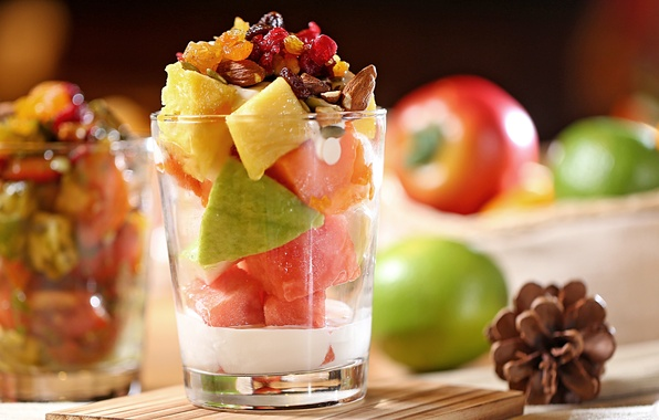 Picture berries, glasses, fruit, nuts, dessert, salad, dried fruits