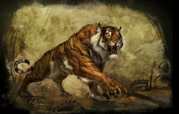 Picture tiger, the world, plant, art, the concept, claws, underworld, tiger, art, lara, tombs, the raider, …