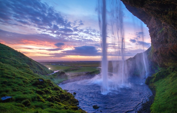 Picture greens, sunset, rock, dawn, hills, waterfall
