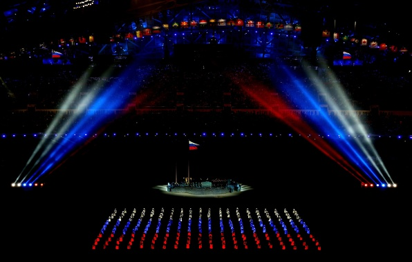 Picture flag, Russia, tricolor, Olympics, Olympic games, Sochi, 2014, the stadium fischt, opening