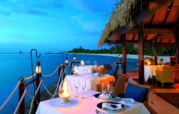 Picture sand, sea, water, nature, palm trees, the ocean, interior, candles, lights, restaurant, luxury, sea, ocean, …