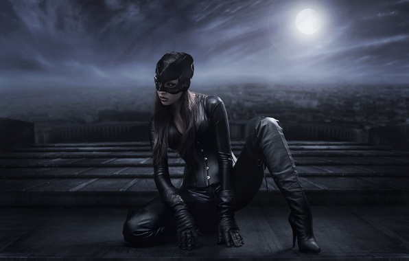Picture girl, pose, boots, mask, costume, Catwoman, Catwoman, look. eyelashes